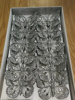 8cm x12 Decorative Glitter Jewelled Clip-on Butterflies Wedding silver