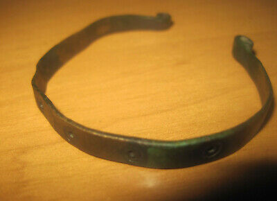 Ancient bronze bracelet. Solar symbols 100% original  Metal detector finds.