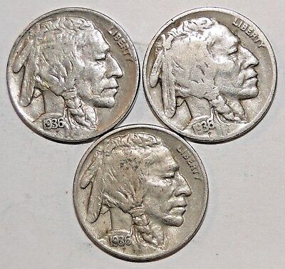 1936-P-D&S Buffalo Nickel (Indian Head),Set of 3 Coins, BN16