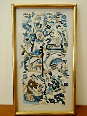 Antique Chinese Embroidered Embroidery Silk Panel Picture People Fish Flowers