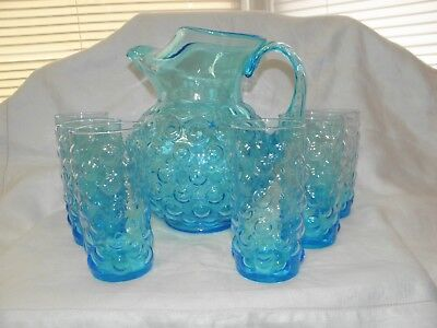MURANO Bubble Glass Light Blue Ice Lip Pitcher & Glass Set - Italy BEAUTIFUL!!!