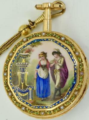 MUSEUM Qing Dynasty Chinese 22k gold,Enamel&Pearls Repeater Verge Fusee watch