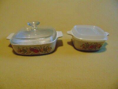 Vintage Corning Ware Spice of Life A-1-B  2qt  and P-43-B Casserole Dish w/Lids