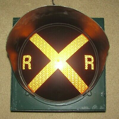 "12"" RAILROAD CROSSING Traffic Signal Light Yellow lens cap visor #AW"