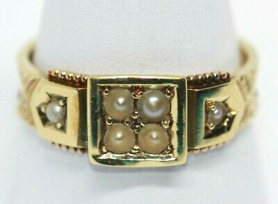Antique Victorian Chester 1887 hallmarked 15 ct gold seed pearl ring size O 1/2