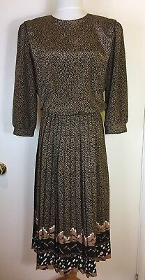 VIP Petites Vintage 80's Polyester Pleated Midi Dress Petite Size 10 Brown