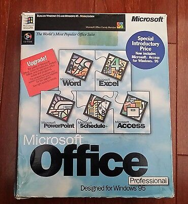 Vintage Software Mirosoft Office Professional Upgrade for Windows 95 box &manual