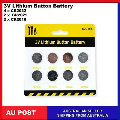 8 x Lithium Coin Cell Button 3V Battery Batteries  CR2032 CR2025 CR2016