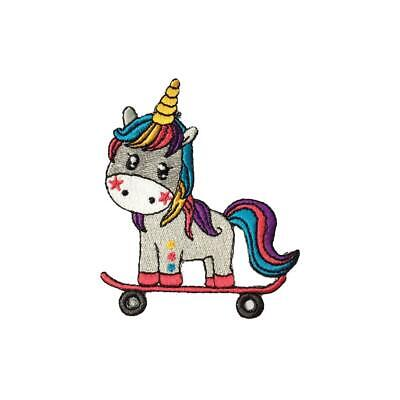Toon Rainbow Unicorn Skate Boarding (Iron On) Embroidery Applique Patch Badge