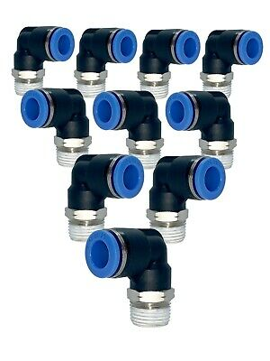 One Touch  fitting Male Elbow Push In 5/32 OD Tubing x 1/4 NPT, 10 pcs