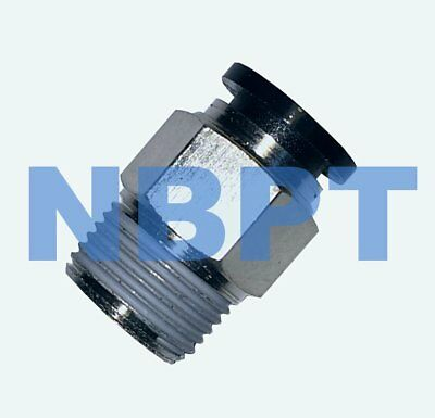 PUSH IN TO CONNECT ONE TOUCH FITTING STRAIGHT 6 mm - R3/8,  NBPT 10 pcs