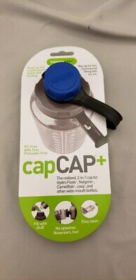 Human Gear CapCAP+ Narrow AND Wide Mouth Bottle Cap Nalgene CamelBak Blue/Gray