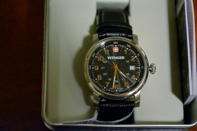 NEW Wenger Urban Classic Black Sunray Textured Dial, Dark Brown Leather Strap