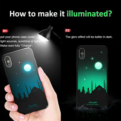 Hard Luminous Back Case for iPhone X 8 Plus 6s Plus Glow in the Dark Cover Cases