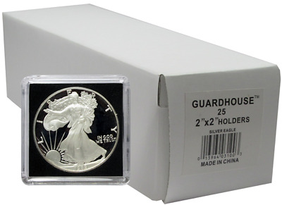 25 Guardhouse Tetra 2x2 Coin Holder Snap Capsule 40mm American Silver Eagle Case