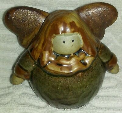 "4"" Chubby Brown Smiling Fairy Pottery Figure"