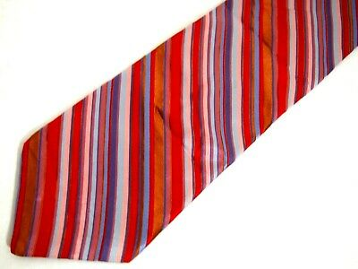 3eeb9e661d41 Ted Baker Mens Necktie Tie Colorful Striped Red Blue Purple Brown 100% Silk