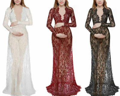 Women Lace Hollow Out Charm Long Sleeve Dress Deep V-Neck Solid Color Skirt