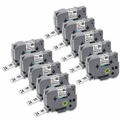 10PK TZe-251 Black/White Label Tapes P-touch Compatible/Brother 24mm PT-9700PC