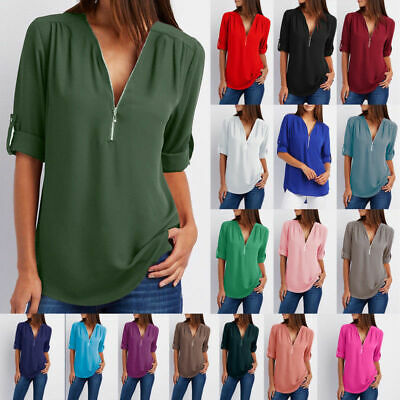 Summer Women Tops Blouse Casual Chiffon Long Sleeve Ladies Shirt Loose Solid