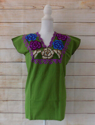 Handmade Green Embroidered Mexican Blouse Floral Peasant Mexican Fiesta Shirt