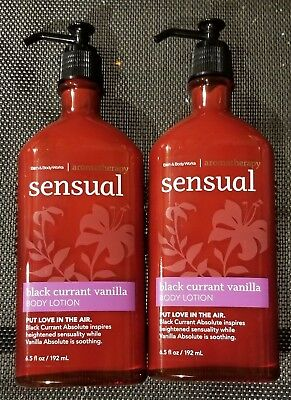 Bath and Body Works BLACK CURRANT VANILLA Sensual AROMATHERAPY Lotion LOT x2
