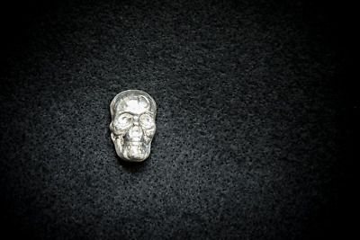 Hand Poured Silver 1 Troy Oz Ounce Skull Bar Ingot Solid 999