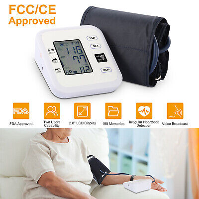 Automatic Upper Arm Blood Pressure Monitor Digital Cuff Pulse LCD FDA Approved
