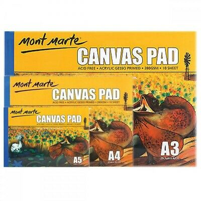 1pce Mont Marte Canvas Pad 280gsm 10 Sheets, A3 A4 A5, Sketching & Painting Pape