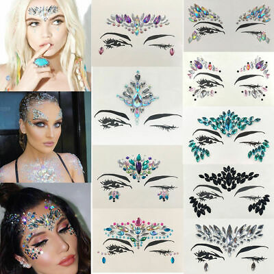 Gypsy Glitter Mermaid Face Gems Jewels Party Body Art Tattoo Sticker Fancy Dress