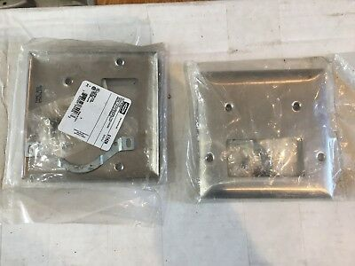 (3) NIP Hubbell S1426 stainless steel SS blank + rectangular opening wall plates