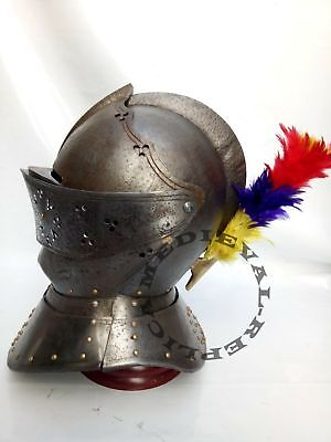 New European Closed Helmet - Medieval Knight Armour Helmet With Plume