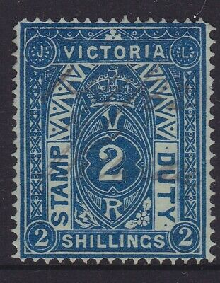 Victoria Rare 1884 2/- Blue Qv Stamp Duty Fine Used Sg 258 (Dm22.4)