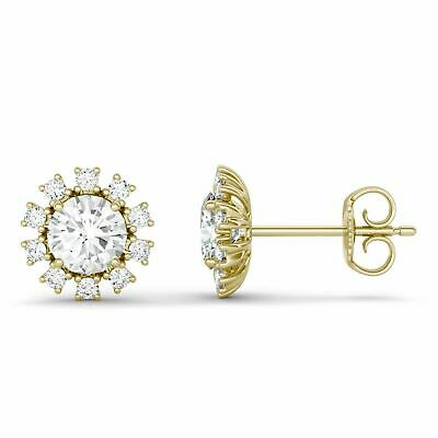 1.50ct Round-Cut VVS1 Diamond Floral Halo Stud Earrings in 14K Yellow Gold Over
