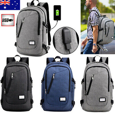 Mens Womens Laptop Backpack Rucksack Work Travel School Bags + USB Charging Port