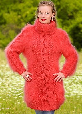 4a8c14462a7 SUPERTANYA PASTEL RED CORAL Hand Knitted Mohair Sweater Fuzzy Sexy ...