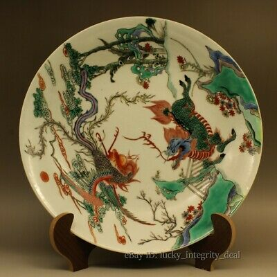 Antique Chinese Old Porcelain Green Color Wucai Phoenix&Kirin Plate.Mark