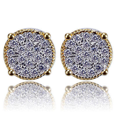 06d627848 Mens 14k Gold Iced Out Lab Diamond Stud Kite Round Hip Hop Micropave  Earrings