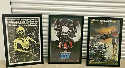 "Star Wars Polish Movie Posters 24"" x 36"" , set of 3, framed 27"" x 39"""