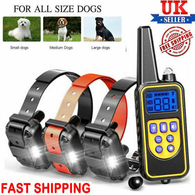 800M Dog Shock Training Collar Remote Rechargeable Pet Trainer For 1/2/3 Dogs UK