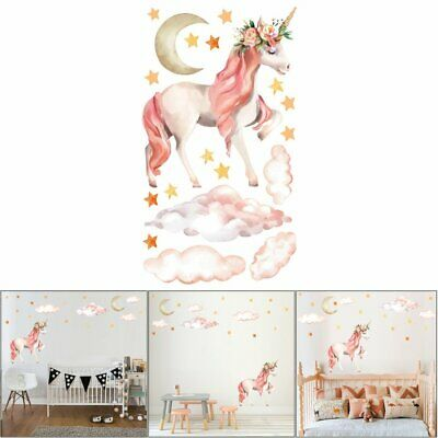 Fairy Pink Unicorn Trendy Wall Stickers Decals PVC Vintage Home Room Decor GN