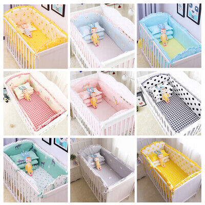 5pcs Cotton Baby Crib Padded Protector Bedding Set Bed Bumper 120*60cm