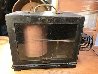 Antique Cast Iron & Brass Negretti & Zambra London Thermograph Reader
