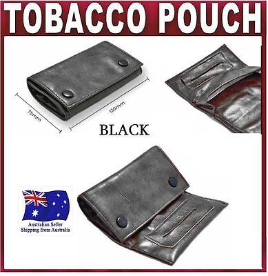 Black PU Leather Cigarette Tobacco Pouch Bag Case Filter Rolling Paper gift