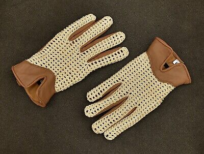 Men`s Real Leather Driving Gloves Retro Style Full Finger Crochet Back Chauffeur