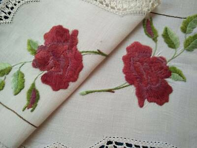 Stunning Red Roses & Bud   ~ Vintage Hand Embroidered Centrepiece