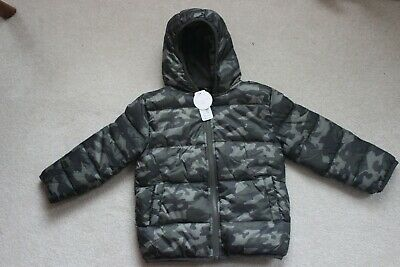 4ffb44fa028e GYMBOREE BOYS CAMO Hooded Puffer Jacket Coat Blue Gray Camouflage XS ...