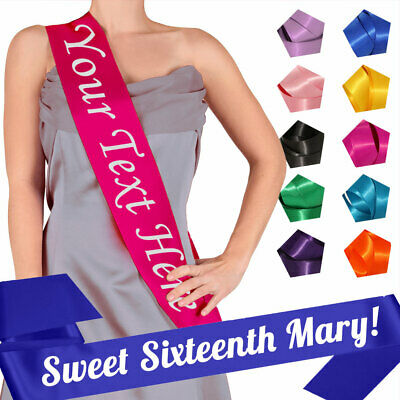SWEET SIXTEEN Birthday Sash For Girls 16th Party Gift Accessory Satin Ribbon