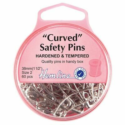 Hemline Nickel Curved Safety Pins - 38mm (60pcs) H418.2 Size 2 Hardened Tempered