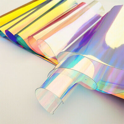 50x95cm Iridescent Holographic Clear Transparent PVC Fabric Vinyl Material Bag